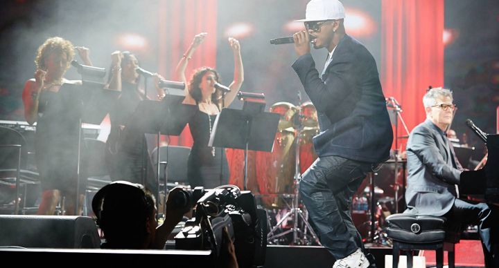 Ne-Yo performs in concert with David Foster